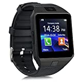 Sazooy DZ09 Bluetooth Smart Watch Touch Screen Smart Wrist Watch Phone Support SIM TF Card With Camera Pedometer Activity Tracker for Iphone IOS Samsung Android Smartphones (Black)