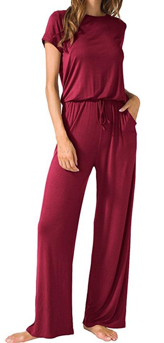Aro Lora Women's Casual Short Sleeve Jumpsuit Elastic Waist Romper with Pockets Wine M