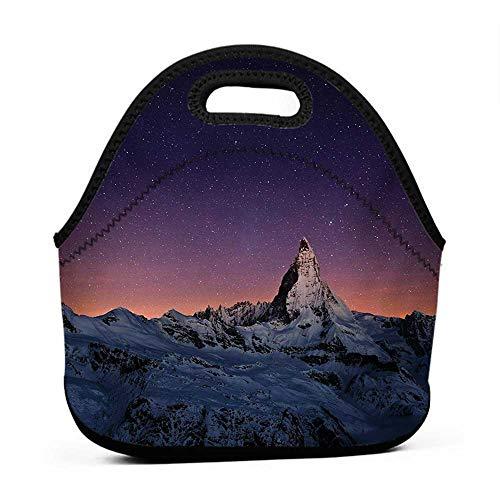 - Rugged Lunchbox Night,Matterhorn Peak Zermatt Switzerland Galactic View European Natural Landmark,Purple Coral Beige,sports lunch bag for men