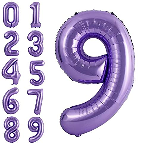 - 519sbzwoylL - 40 Inch Large Purple Balloon Number 9 Balloon Helium Foil Mylar Balloons Party Festival Decorations Birthday Anniversary Party Supplies