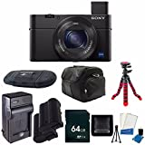 Sony Cyber-shot DSC-RX100 IV Digital Camera + Replacement Li-on Battery + Rapid Travel Charger + 64GB SDXC Class 10 Memory Card + 12-Inch Flexible Tripod + Digital Carrying Case + SDHC Card USB Reader + Memory Card Wallet + 6pc Starter Kit Bundle