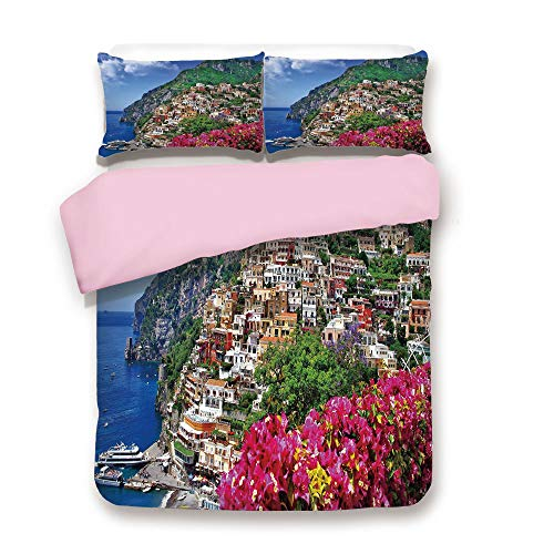 Pink Duvet Cover Set,FULL Size,Scenic View of Positano Amalfi Naples Blooming Flowers Coastal Village Image,Decorative 3 Piece Bedding Set with 2 Pillow Sham,Best Gift For Girls Women,Pink Green Blue