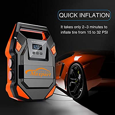 TWING Air Compressor Tire Inflator 12V 150PSI Portable Air Pump Auto Digital Tire Pump with Emergency LED Light, Long Cable and Auto Shut Off Compatible with Car Bicycle Motorcycle Balls Inflatables: Automotive