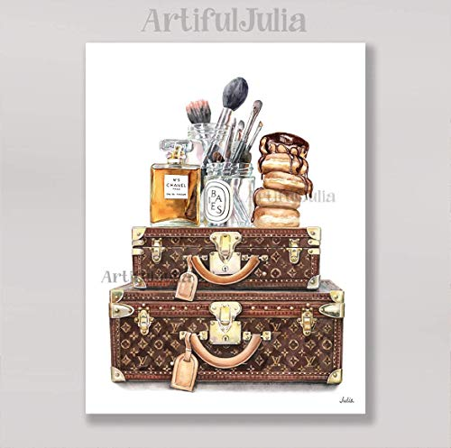 "Louis Vuitton makeup art print of watercolor painting, (NO FRAME), 5""x 7"", 8""x 10"", 9""x 12"", 11""x 14"" and 12""x 16"""