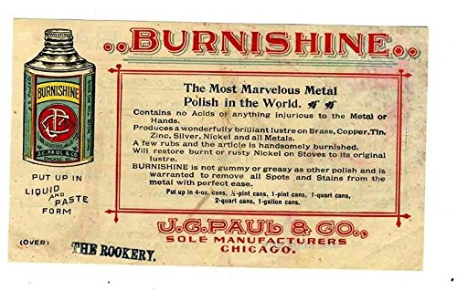 Burnshine Metal Polish & Pride of the Bar Polish Ad Flyer J G Paul & Co. 1900's