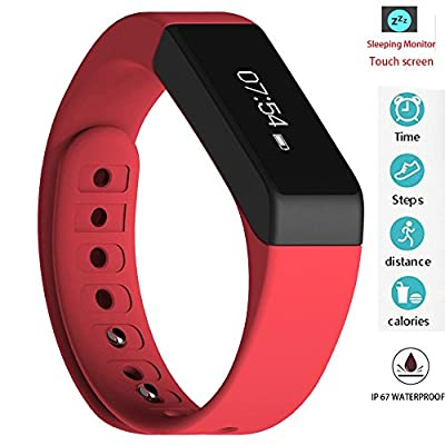 Twinbuys Smart Bracelet Bluetooth 4.0 Android iOS Touch Screen IP68 Waterproof Fitness Tracker Phone Message Notice Pedometer Distance Calories Counter Sleep Monitor Health Sport Wristband Red
