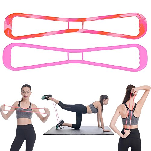 LONGFITE Exercise Bands Food Grade Silicone Material Resistance Workout Bands Butt Exercise for Booty Lift, Sculpt & Tone,Glutes Muscle Workout and Body Stretch Chest Expander(Pink)