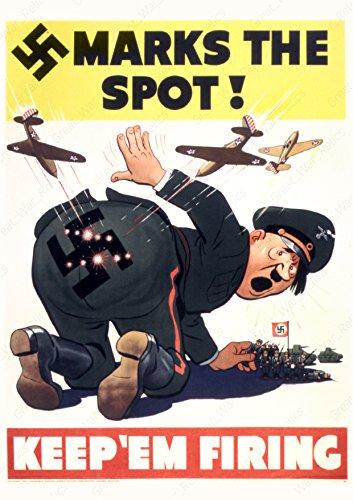 (UpCrafts Studio Design WW2 Anti Hitler Poster Propaganda - Marks The SPOT KEEP'EM Firing (11.7x16.5, Unframed Poster Prints) )