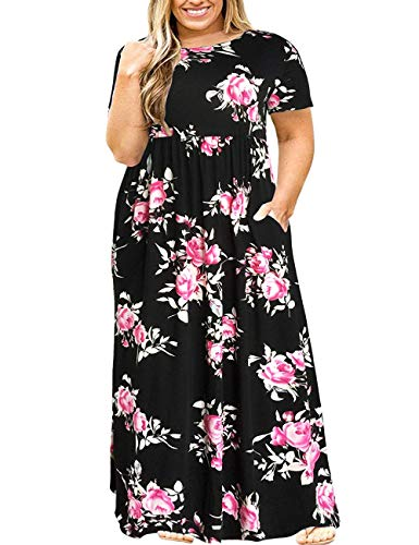 Misses Special Occasion Dresses - Kancystore Women Short Sleeve Plus Size Long Maxi Dress with Pockets Loose Casual T-Shirt Dress (XL, Black Print)