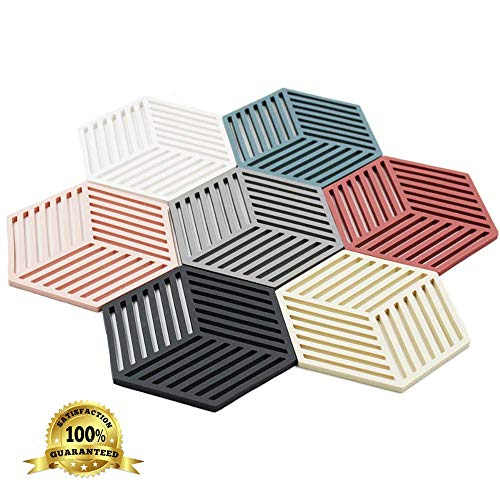 Dine Divine Set of 7 Silicone Trivets | Coaster | Pot Holder | Placemat for Home Kitchen and Dining Table