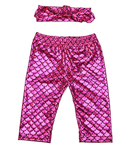 BANGELY Kids Baby Girls Sequin Mermaid Shiny Pants Fish Scales Print Trousers Pencil Leggings Size 2-3 Years (Rose) (Print Sequin Leggings)