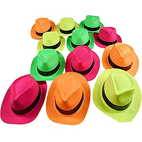 Ifavor123 Bright Neon Color Plastic Gangster Hats – Themed Party Fedora Hat Accessory ()