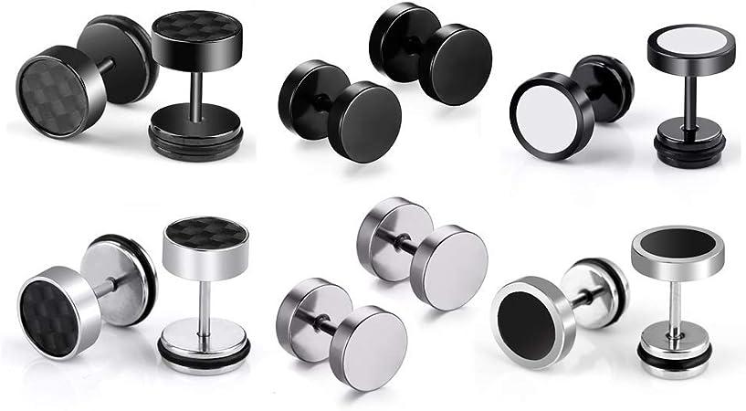 6 pares de pendientes de aro de acero inoxidable pendientes para hombres de las mujeres, pendientes de aretes sin alergia, plata negro: Amazon.es: Hogar