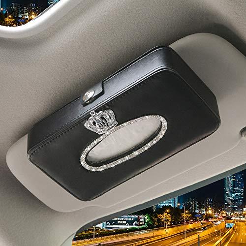Dotesy Bling Bling Car Visor Tissue Holder Leather Crystals Paper Towel Cover Case for Women ()