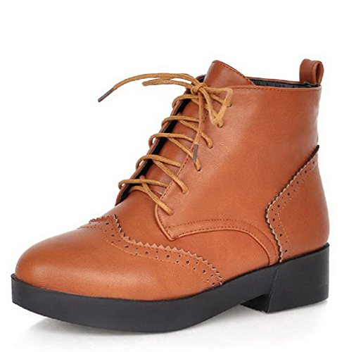 AmoonyFashion Womens Low-Heels Solid Round Closed Toe Soft Material Lace-up Boots Brown tjIeEhEdu