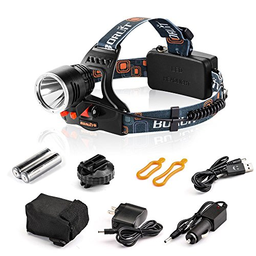 [1800Lmuens 2 in 1]Bicycle Lights, Headlamp, Flashlight-- Complete Lifetime Guarantee! 3 Modes High Quality Headlight for Camping, Hunting, Reading, Running etc. Water Resistant and Powered by 18650 Batteries (Included) + Free Car Charger