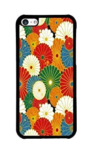 iPhone 5C Case Color Works Abstract Flower Pattern Black PC Hard Case For Apple iPhone 5C Phone Case
