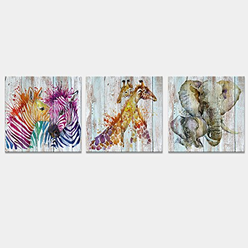 Visual Art Decor Large Abstract Animals Canvas Wall Art Zebra Giraffe Elephant Wall Decal Watercolor Painting Prints Decor for Bedroom Living Room Classroom Gift for Kids (24''x24''x3pcs Retro) by Visual Art