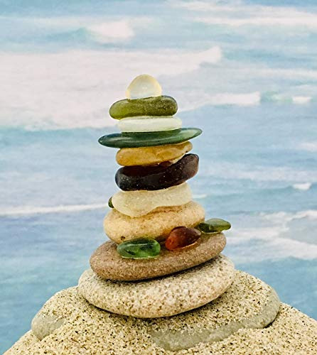 (Minature Sea Glass & Pebbles Cairn ~ Stack #7 ~ Handmade)