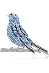 Hand Crafted Silver Tone Bird Fly Sapphire Crystal Rhinestone Pin Brooch