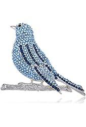 Hand Crafted Silver Tone Bird Fly Sapphire Crystal Rhinestone Pin Brooch