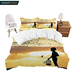 PRUNUSHOME Softest Bedding Child Silhouette with a Bird Cage at Sunset in Forest Rural Trees Birds Soft and Comfortable - X-Long Twin