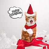 Santa Dog Cat with Scarf, Pet Christmas Hat with Scarf Christmas Costume Santa Puppy Kitten Cats Hat (Cats & Mini Dog, Santa Hat & Scarf)