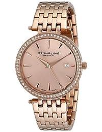 Stuhrling Original Women's 579.04 Vogue Soiree Tiara Swiss Quartz Swarovski Crystal Date Rose Tone Bracelet Watch