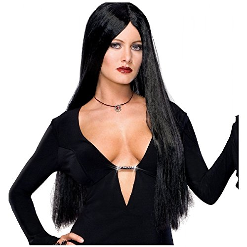 GSG Dlx Morticia Addams Family Costume Wig Long Straight Black Vampire Witch ()
