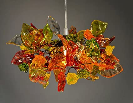 Light shades warm coloured flowers and leaves pendant lighting light shades warm coloured flowers and leaves pendant lighting ceiling lighting for bedroom aloadofball Image collections