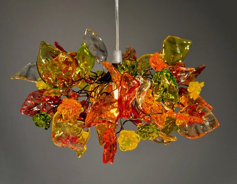 Chandalier - warm colored flowers and leaves - Pendant Lighting - Ceiling lighting for Bedroom Lighting - Kitchen Lighting - Dining Room Lighting - Bathroom Lighting ideas