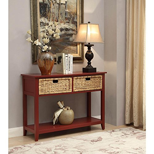 Major-Q Console Table with 2 Drawers and Open Storage for Dining/Kitchen/Living Room, Rectangular, Wood Rustic and Burgundy Finish, 44 x 16 x 28
