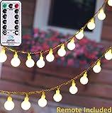 MineTom SYNCHKG105911 UL Listed 33 feet Crystal Ball 100 LED Globe String Lights with Remote & Timer, Warm White