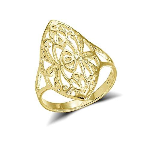 Cross Yellow Pattern (Yellow Gold Flashed Sterling Silver Filigree Cross Pattern Long Ring, Size 9)