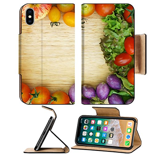 Luxlady Premium Apple iPhone X Flip Pu Leather Wallet Case IMAGE ID 27840038 Healthy Organic Vegetables on a Wooden Background Frame ()