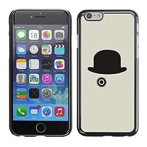 FECELL CITY // Duro Aluminio Pegatina PC Caso decorativo Funda Carcasa de Protección para Apple Iphone 6 Plus 5.5 // Hat Grey Clever Minimalist Black