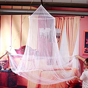 White Jumbo Dome Elegant Lace Bed Netting Canopy Mosquito Net [US Warehouse] by Superjune
