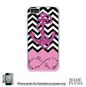 Anchor Live the Life You Love Infinity Quote (Not Actual Glitter) - Pink Black White Chevron with Anchor iPhone 6 4.7'' Case - WHITE RUBBER by Unique Design Gifts [MADE IN USA]