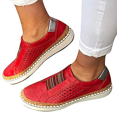 TnaIolral Women Casual Hollow-Out Shoes Round Toe Slip On Flat with Sneakers (US:10, ()