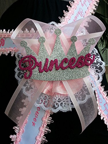 Baby Shower Mom To Be It's a Girl Sash with Princess Crown Pink Ribbon Corsage by PRODUCT 789 (Image #1)