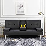 Walsunny Modern Faux Leather Couch, Convertible