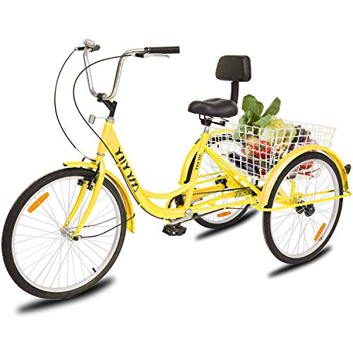 YiiYYaa Adult Tricycle Trike Cruise Bike, 24 Inch Wheel Single Speed 3 Wheeled Bicycle with Large Size Basket for Recreation, Shopping, Exercise (Yellow) (Best 3 Wheel Bike For Adults)