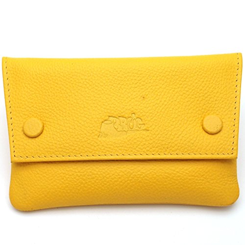 Pipe Tobacco Leather Pouch - Authentic Full Grade Cow Leather - Lemon Yellow