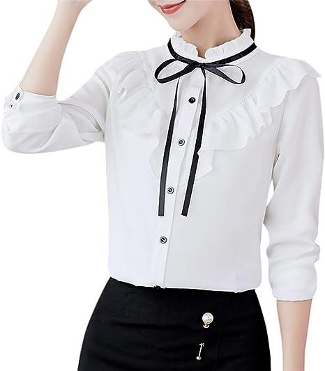 LABAICAI Mujeres de la Camiseta Ropa de Manga Larga Oficina de Trabajo de la Pajarita Gasa de Las Colmenas Camiseta Top Tees Harajuku Blanca Camisetas Femme (Color : White, Size : XL):