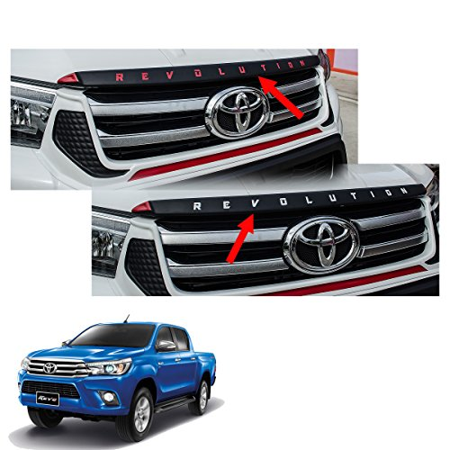 Powerwarauto Hood Garnish Trim Cover Black (Red, White) Trim For Toyota Hilux Revo SR5 2Dr 4Dr 4×2 4×4 2015 2016 2017 2018