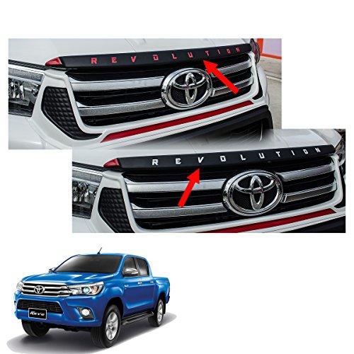 Powerwarauto Hood Garnish Trim Cover Black (Red, White) Trim For Toyota Hilux Revo SR5 2Dr 4Dr 4×2 4×4 2015 2016 2017 2018