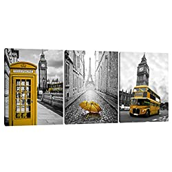 Black and White with Eiffel Tower Yellow Car Paris Canvas Big Ben Yellow Telephone Booth and Bus in London 3 Pcs Wall Art Decor Colorful Cityscape Canvas Framed Ready to Hang(12 W x 16 H x 3 Panels)