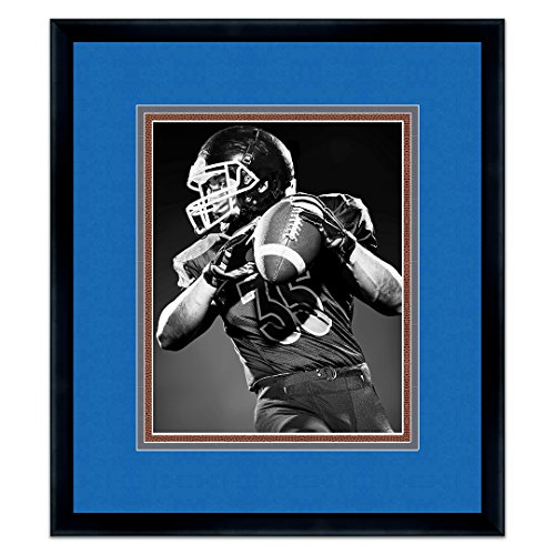Black Wood Frame For 8x10 Photos with a Triple Mat - Honolulu Blue, Silver, and Football Textured - Picture Frames Honolulu