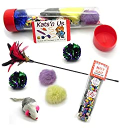 Feather Cat Toys - Kats\'n Us Tickler Tube of Cat Toys