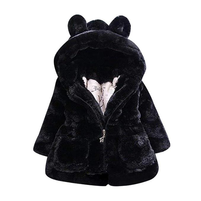 fb74bb7a3b2d WuyiMC Cotton Coat for Girls, Kids Faux Fur Fleece Lapel Coat Winter Warm  Jacket for